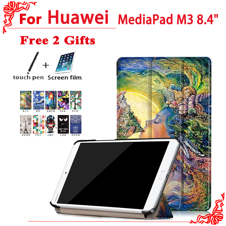case For Huawei MediaPad M3 High quality case cover For Huawei MediaPad M3 BTV-W09 BTV-DL09 8.4 inch Tablet + free 2 gifts for huawei mediapad m3 8 4 case btv w09 dl09 tablet removable wireless bluetooth keyboard case cover for huawei m3 stylus