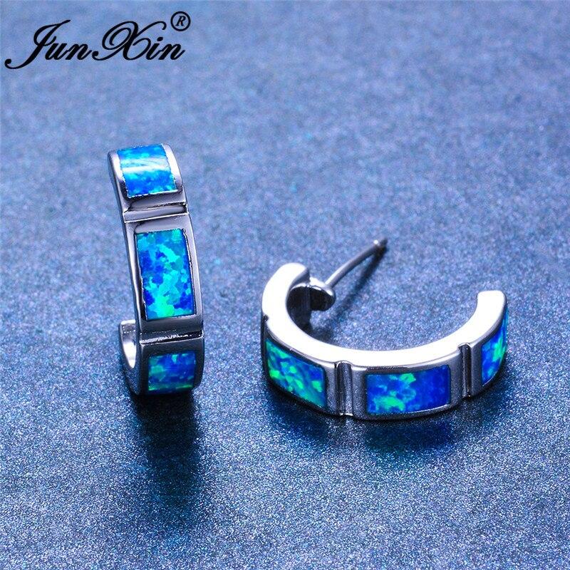 JUNXIN Minimalist Female Male Blue White Fire Opal Bar Stud Earrings For Women Men Silver Color Geometric Earrings Wedding