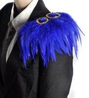 Handmade faisão/pena de avestruz cristal epaulette/ombro dragona/host desempenho traje homens blazer acessórios atacado