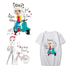 Iron on Cute Girl Patches for Clothes DIY T-shirt Applique Heat Transfer Vinyl Letter Patch Stickers for Clothing Heat Press iron on heart mouse patches for kids girl clothing diy t shirt dresses applique heat transfer vinyl thermo letter patch stickers