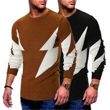 Alta calidad 2018 nuevos hombres suéter Casual lightning hombres otoño  calidad sólida marca de punto suéteres 8998bcb5e509