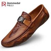 Rommedal из крокодиловой кожи, Мокасины, мужские туфли натуральная кожа, без шнуровки, мокасины на плоской подошве; повседневная мужская обувь д...