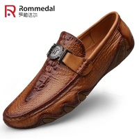 Rommedal crocodile skin loafer shoes men genuine leather slip on moccasins handmade man casual shoes drive walk luxury leisure
