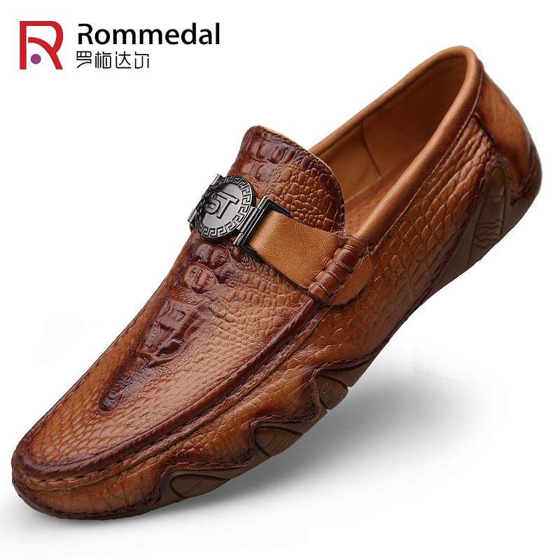 Rommedal Casual Shoes Moccasins Drive Crocodile-Skin Handmade Slip-On Genuine-Leather title=