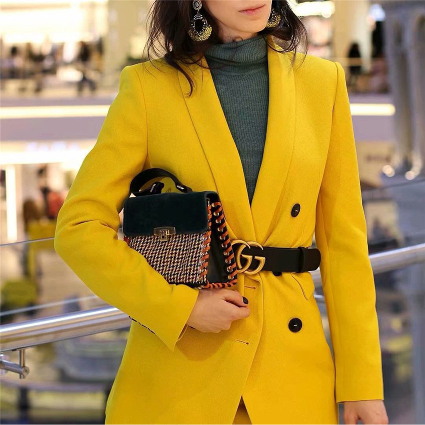 Work Pant Suits OL 2 Piece Sets Double Breasted Yellow Blazer Jacket Zipper Trousers Suit For Women Set Feminino Spring