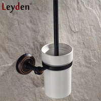 Leyden Solid Brass Black Antique Bronze Finish Wall Mounted Household Toilet Brush Holder With Ceramic Cup