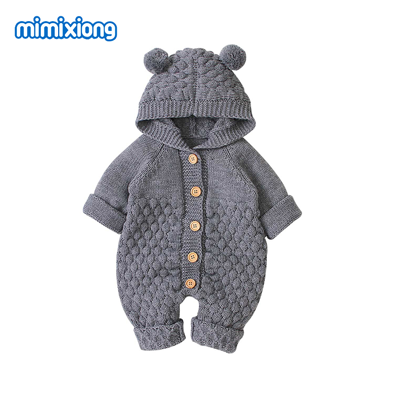 Baby Girl   Rompers   Cartoon Bear Knitted Newborn Boys Jumpsuits Clothes Autumn Long Sleeve Toddler Sweater Children Overall Winter