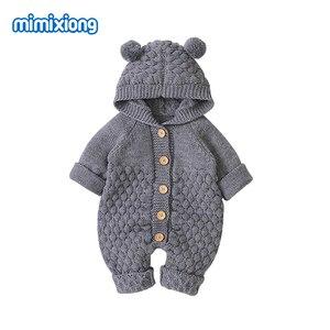 Image 2 - Śpioszki dla niemowląt z dzianiny kreskówka niedźwiedź noworodka chłopiec kombinezony Autum z długim rękawem maluch dziewczyna swetry ubrania dla dzieci kombinezony zimowe