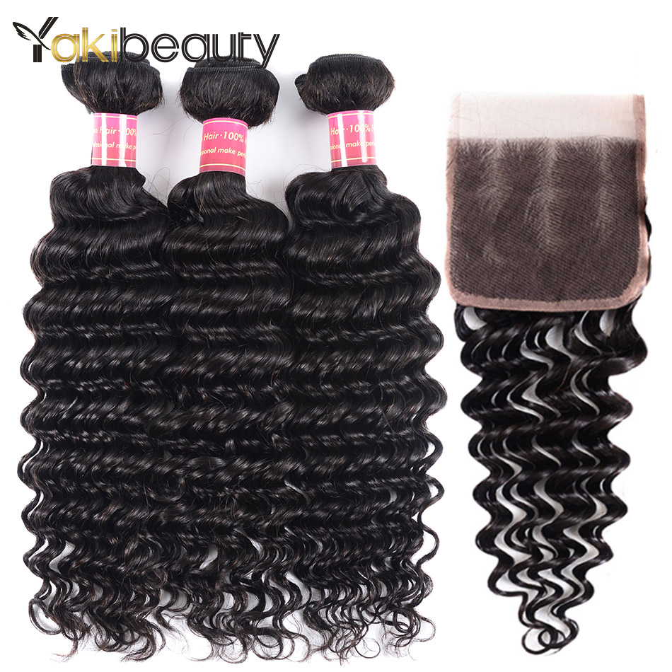 Brazilian Curly Hair Weave Bundles With Closure 3 Bundle Remy Human Hair Deep Wave Bundles With Closure Free Part 4*4 Yakibeauty