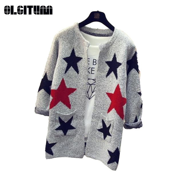 2019 Autumn Winter Long Sleeve Knitted Women Sweater Cardigan Warm Long Sleeve Star Pattern Cardigans Slim Female Sweaters