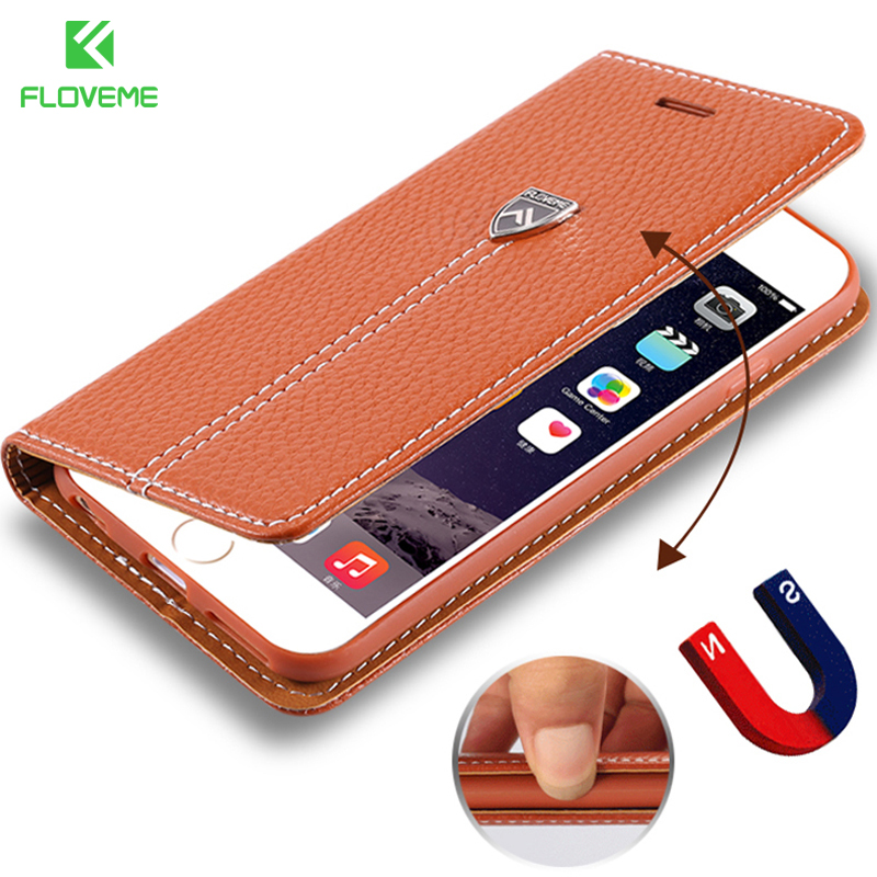FLOVEME Luxury Leather Case For Apple iphone 6 6S Plus 7 Plus Case Wallet Stand Card