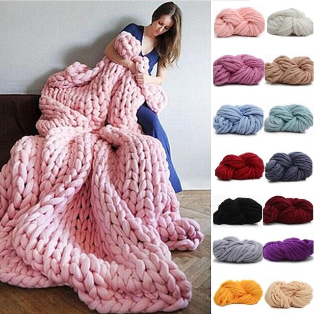 HOT SALE! 250g Fashion Super Bulky DIY Hand Knitting Blanket Hats Warm Giant Thick Yarn