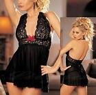 Black Lace Lingerie Babydoll Dress Chemise Nighty Plus Size 8 10 12 14 16 18 20