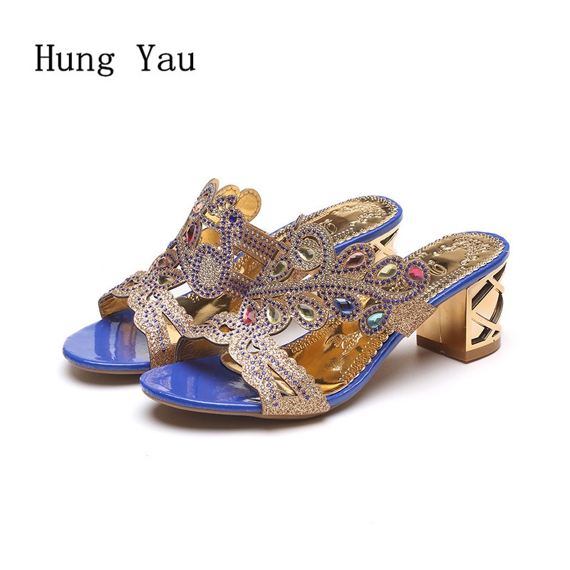 Woman Sandals Shoes 2018 Summer Style Wedges Pumps High Heels Rhinestone Gladiator Sandals Shoes Women Fashion Slippers Shoes цена 2017