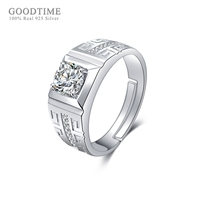 GOODTIME Fashion Men Silver 925 Jewelry Classic Real 925 Sterling Silver Wedding Rings for Men Jewelry Zirconia Engagement Ring