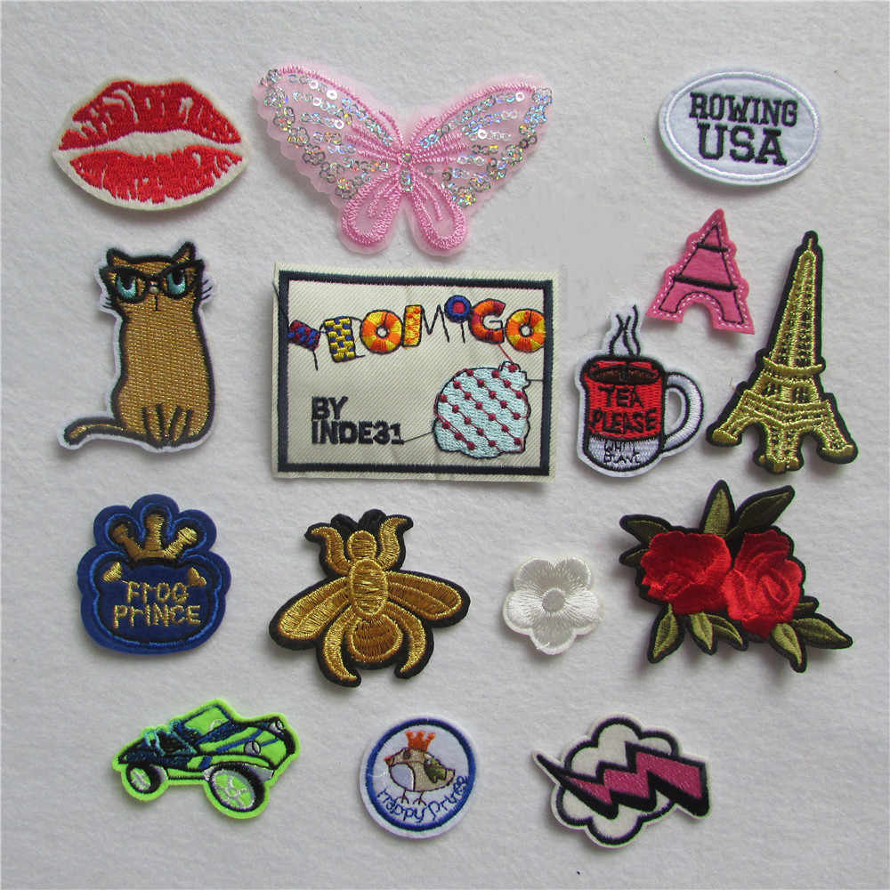 fashion style brand new trendy cartoon patter hot melt adhesive applique embroidery thread DIY accessories patches stripes