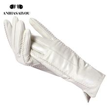Białe skórzane damskie rękawiczki skóra naturalna bawełniana podszewka ciepła modne skórzane rękawiczki skórzane rękawiczki ciepłe zimowe-2226 tanie tanio anihasaiyou WOMEN Poliester spandex Mikrofibra Prawdziwej skóry COTTON Dla dorosłych Plaid Nadgarstek Moda S-18 winter gloves