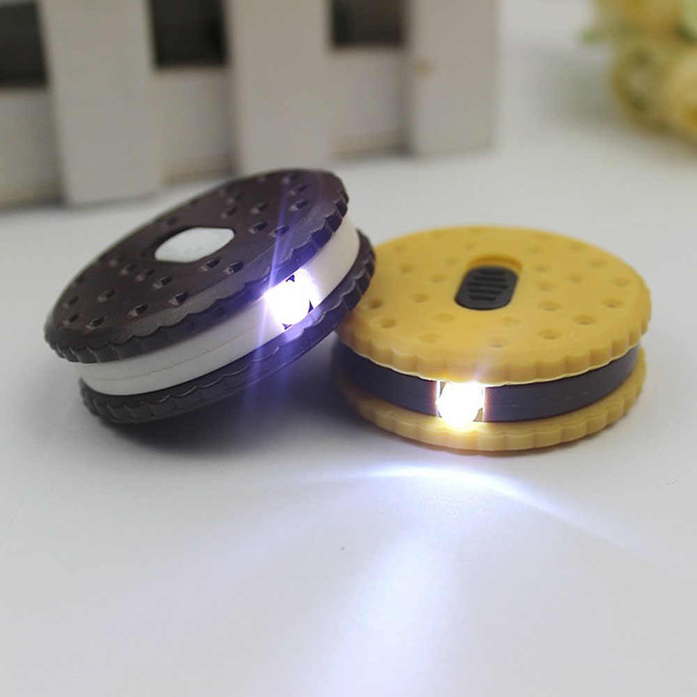 Biscuits Shape Keychain Keyrings With LED Flashlight Portable Camping Hiking Light Emergency Tool Travel Kit Plastic
