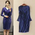 new in 2017 women Long Sleeve V-neck Bodycon Dress Stretch Fabric Soft to Skin Woman Royal Blue Sheath Dress Sexy Shirring Waist