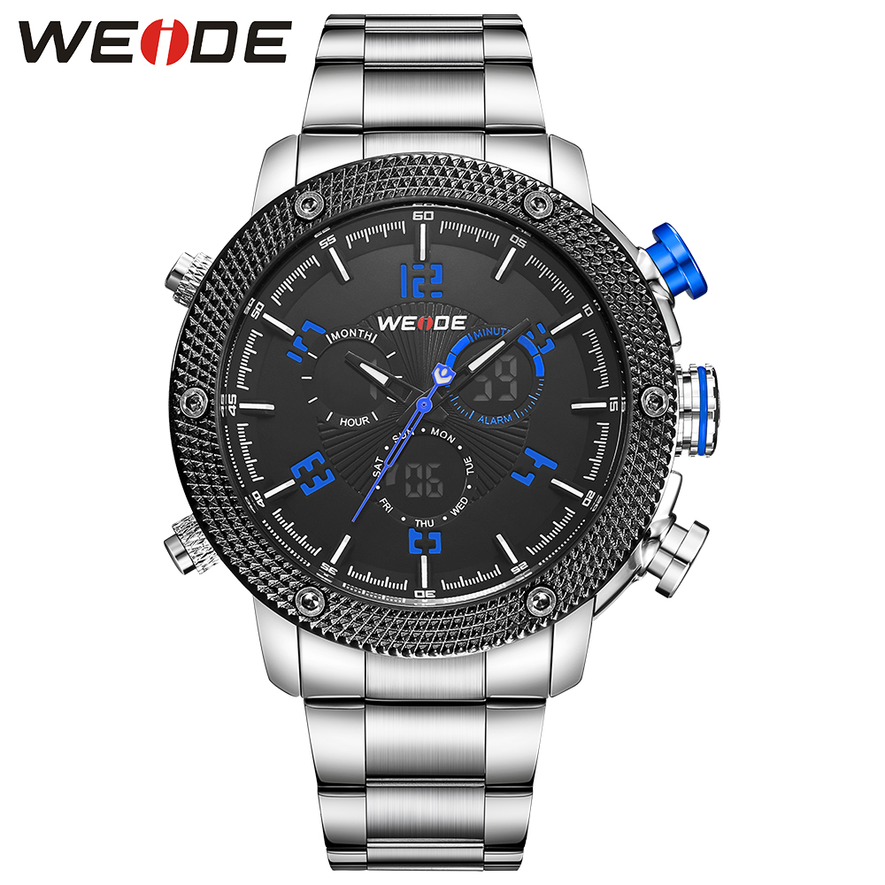 2018 WEIDE Fashion Men Analog Sport Watch Multiple Time Date Digital Quartz Watch Full Steel Case Band Bracelet Clasp Wristwatch weide casual genuin brand watch men sport auto date quartz digital silicone waterproof wristwatch multiple time zone masculino