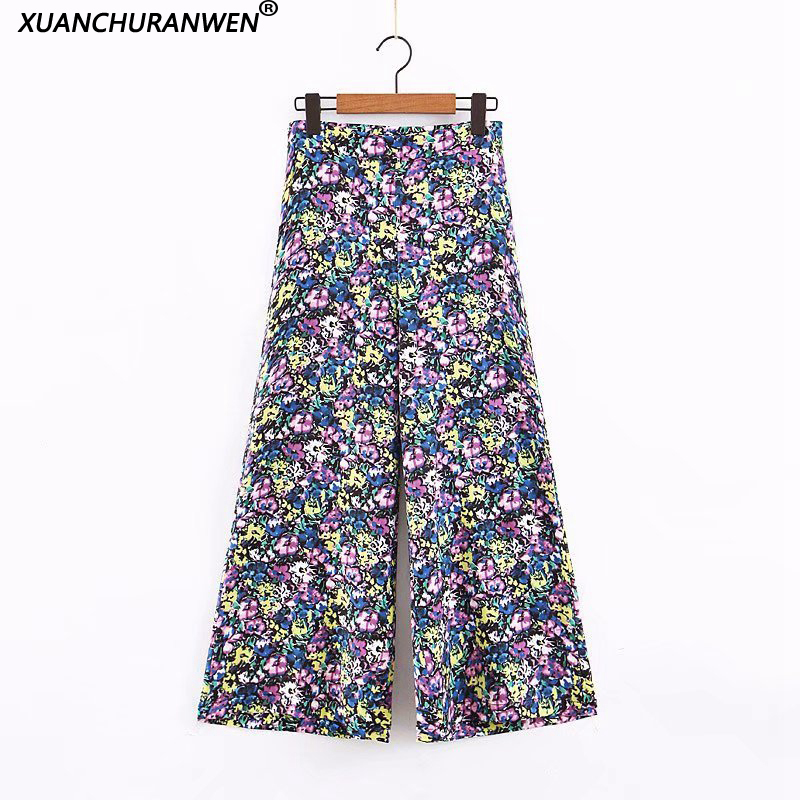 New Casual High Waist Floral   Wide     Leg     Pants   Women Vintage Loose Casual Ankle Length Trousers Female Summer   Pants   XZ2054
