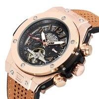 Hot style belt tourbillon automatic mechanical watch waterproof luminous business men's watches