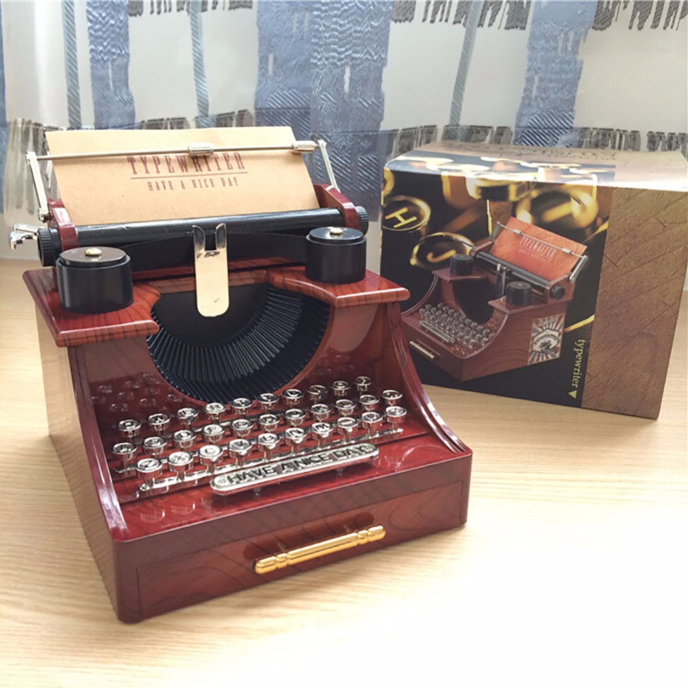 Vintage Typewriter Hand Crank Music Box For Home Office Study Toy Gift Desktop Decoration Home D image