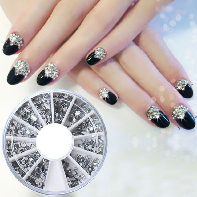 1 Wheel 12 Size Different Shape Silver Glitter Nail Rhinestones