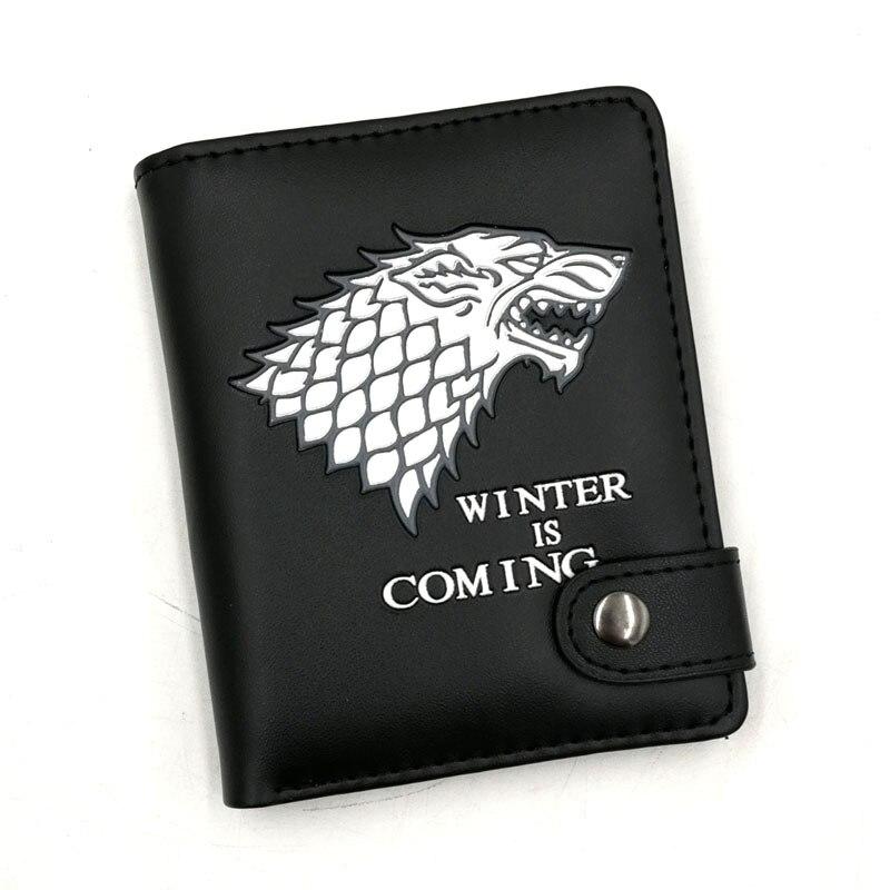 Anime Game Of Thrones Stark Winter Ist Kommende Synthetische Leder Brieftasche Schwarz Karte Halter Geldbörse Mit Taste Für Männer Frauen Geschenk GroßE Auswahl;