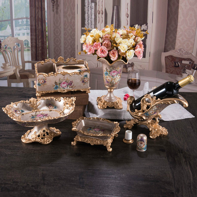 6pcs/set European fruit plate decoration luxury living room resin paper boxes wine shelf flower & 6pcs/set European fruit plate decoration luxury living room resin ...