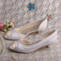 Wedopus Spring Autumn Satin Wedding Shoes Open Toe with Lace Fabric Low Heel Customized