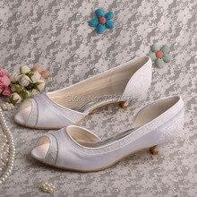 Wedopus Весна Осень Атласная Свадебная Обувь Открытым Носком с Кружевной Ткани Низкий Каблук Индивидуальные