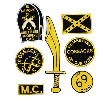COSSACK 69 MC name tags patch Embroidered IRON ON BACKING image