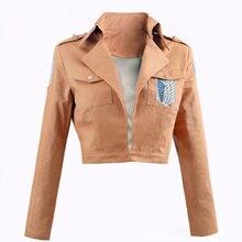 купить Attack on Titan Jacket Cloak Shingeki no Kyojin Legion Cosplay Costumes Embroidery Jacket Coat Cloak Leather Apron дешево
