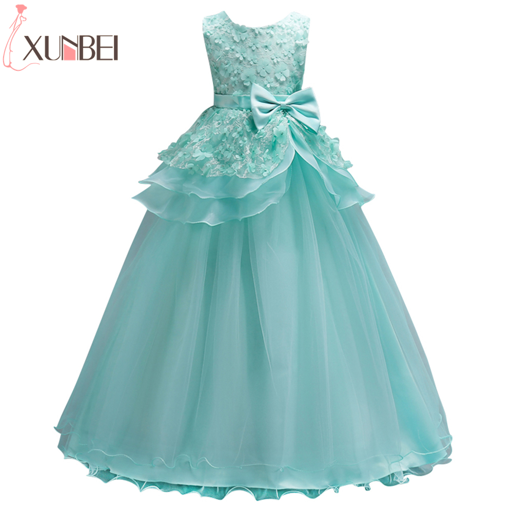 Beautiful Mint Green   Flower     Girl     Dresses   2019 Lace   Flower   Bow Kids Evening Gowns Ball Gown Pageant   Dresses   For   Girls   Glitz
