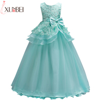 Beautiful Mint Green Flower Girl Dresses 2018 Lace Flower Bow Kids Evening Gowns Ball Gown Pageant Dresses For Girls Glitz