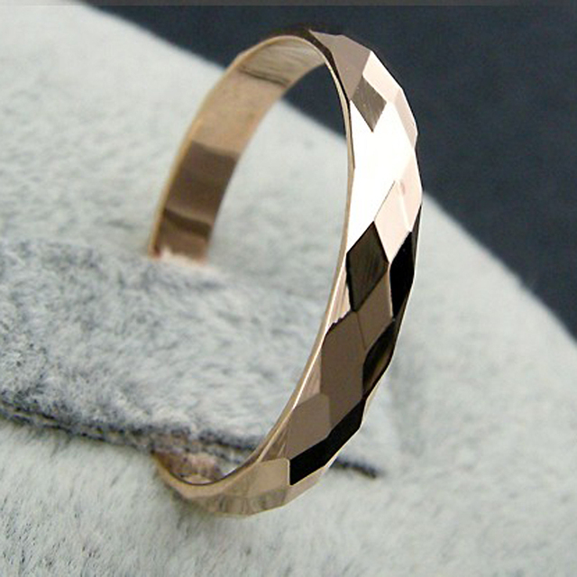 USTAR Rhombus Lovers' wedding rings for women men jewelry Rose gold color Brand Men ring male female Anel Accessories Gifts