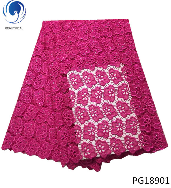 BEAUTIFICAL 5 yards/lot cord lace fabric african lace fabric 2018 high quality lace pink guipure lace fabric embroidery PG189