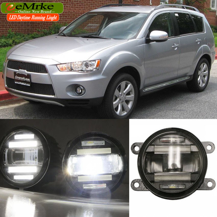 eeMrke Car Styling For Mitsubishi Outlander 2007- up in 1 LED Fog Light Lamp DRL With Lens Daytime Running Lights eemrke car styling for opel zafira opc 2005 2011 2 in 1 led fog light lamp drl with lens daytime running lights