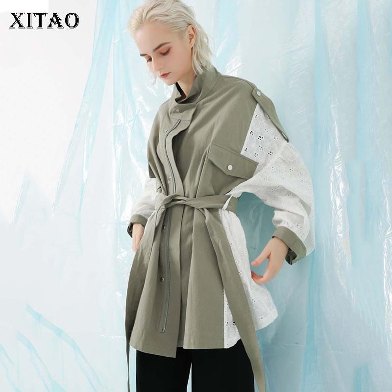 [XITAO] Europe Fashion New Women 2018 Autumn Mandarin Collar Full Sleeve Coat Female Patchwork Lace Pocket   Trench   LYH1183