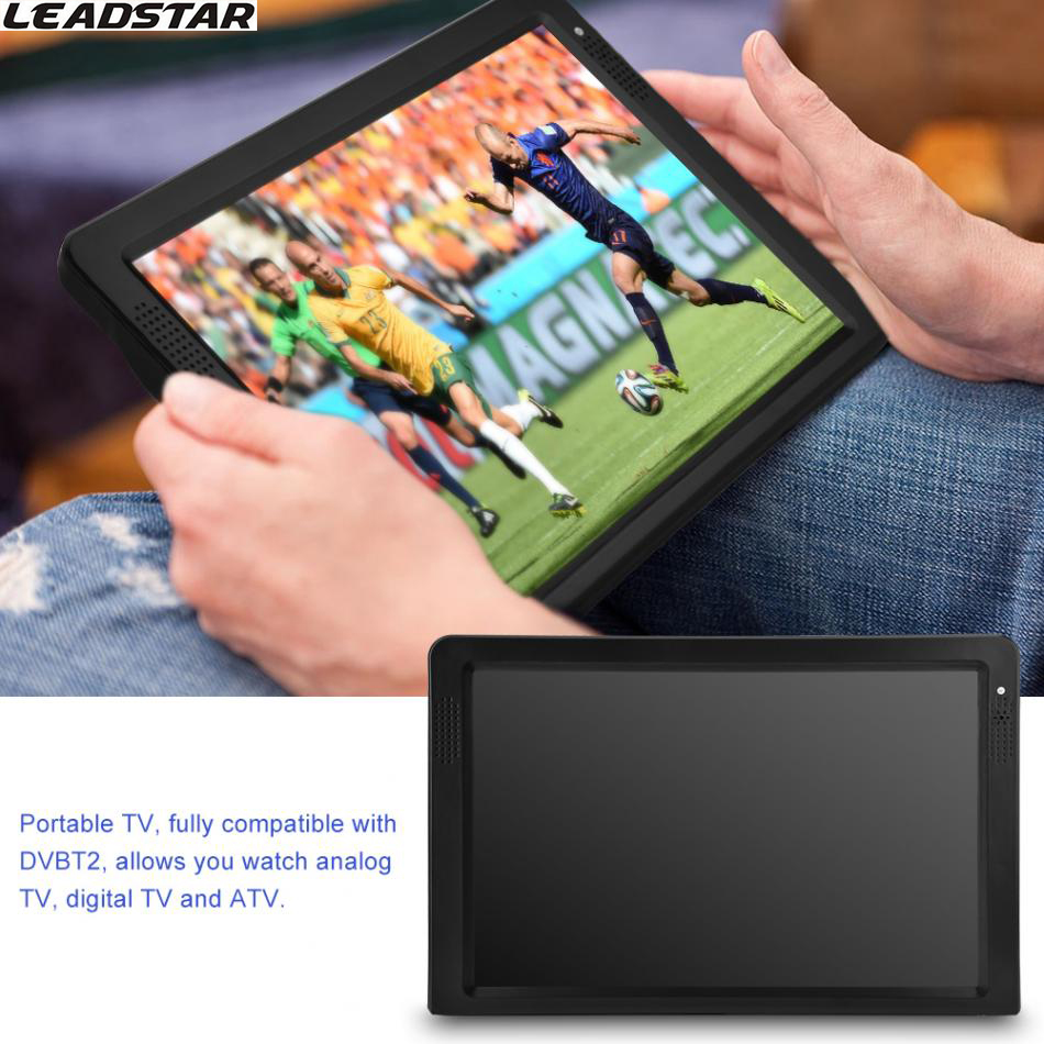 LEADSTAR DVB-T-T2 12.1 Inches Rechargeable Digital Color TV Television Player TFT-LED Screen Support U Disk and TF Card 2017 New