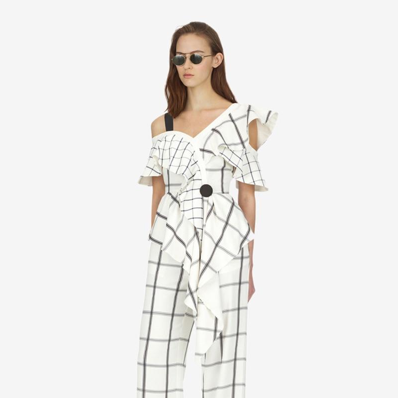 Self portrait   Blouse   Womens one shoulder tops 2018 summer New Fashion Vintage Plaid chiffon   blouses     shirts   blusas feminina