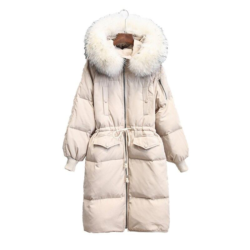 Donne Parka Moda Autunno Inverno Caldo Solido Giubbotti Donne Collo di Pelliccia naturale Cappotti Lunghi Parka Felpe Ufficio abbigliamento donna