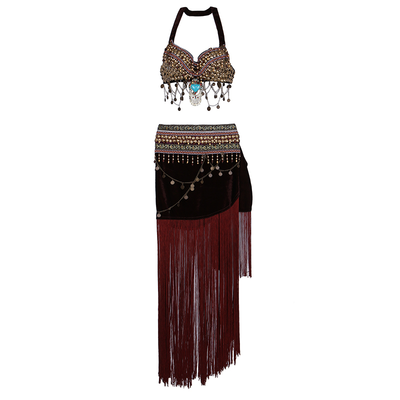 Women Dancewear Size S-XL Outfit 2 Pieces Bra And Hip Scarf Overskirt Tribal Belly Dance Costume Set