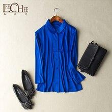 レイチ女性ドールカラー長袖純粋な自然シルクニットトップシングルブレストブラウスファッショナブルなスタイルシャツ