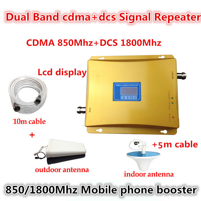 LCD Display DCS 1800MHz CDMA 850Mhz Dual Band Mobile Phone Signal Booster Cell Phone 2g 3g Wifi 4G LTE Signal Repeater + Antenna