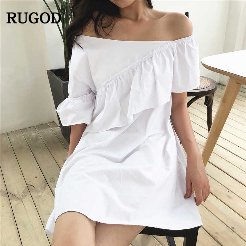 RUGOD 2019 新夏ビーチでの休暇緩いスウィートシックなソリッド A ラインフリルワンショルダー非対称ネックドレス女性