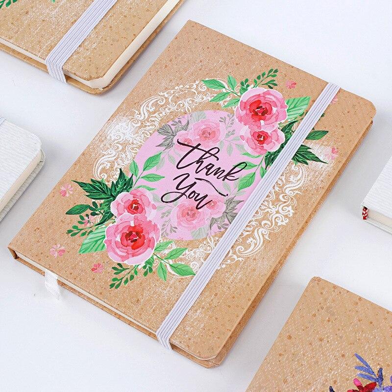 Couverture rigide A5 Creative Fleurs peintes À La Main Portable Étudiant Papeterie Pointillé Bullet Journal Bujo