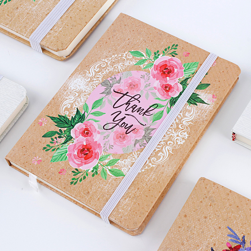 Hard Cover A5 Creative Hand-painted Flowers Notebook Student Stationery Dotted Bullet Journal Bujo hard cover dotted candy color a5 pu notebook elastic band creative bullet journal bujo