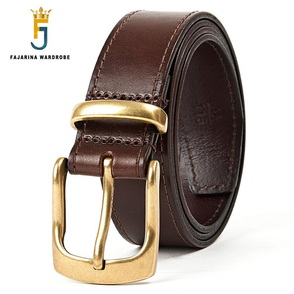 FAJARINA Quality Unique Ring Solid Brass Pin Buckle Mens Stitching Edge Cowhide Leather Retro Styles Pure Belts for Men N17FJ348
